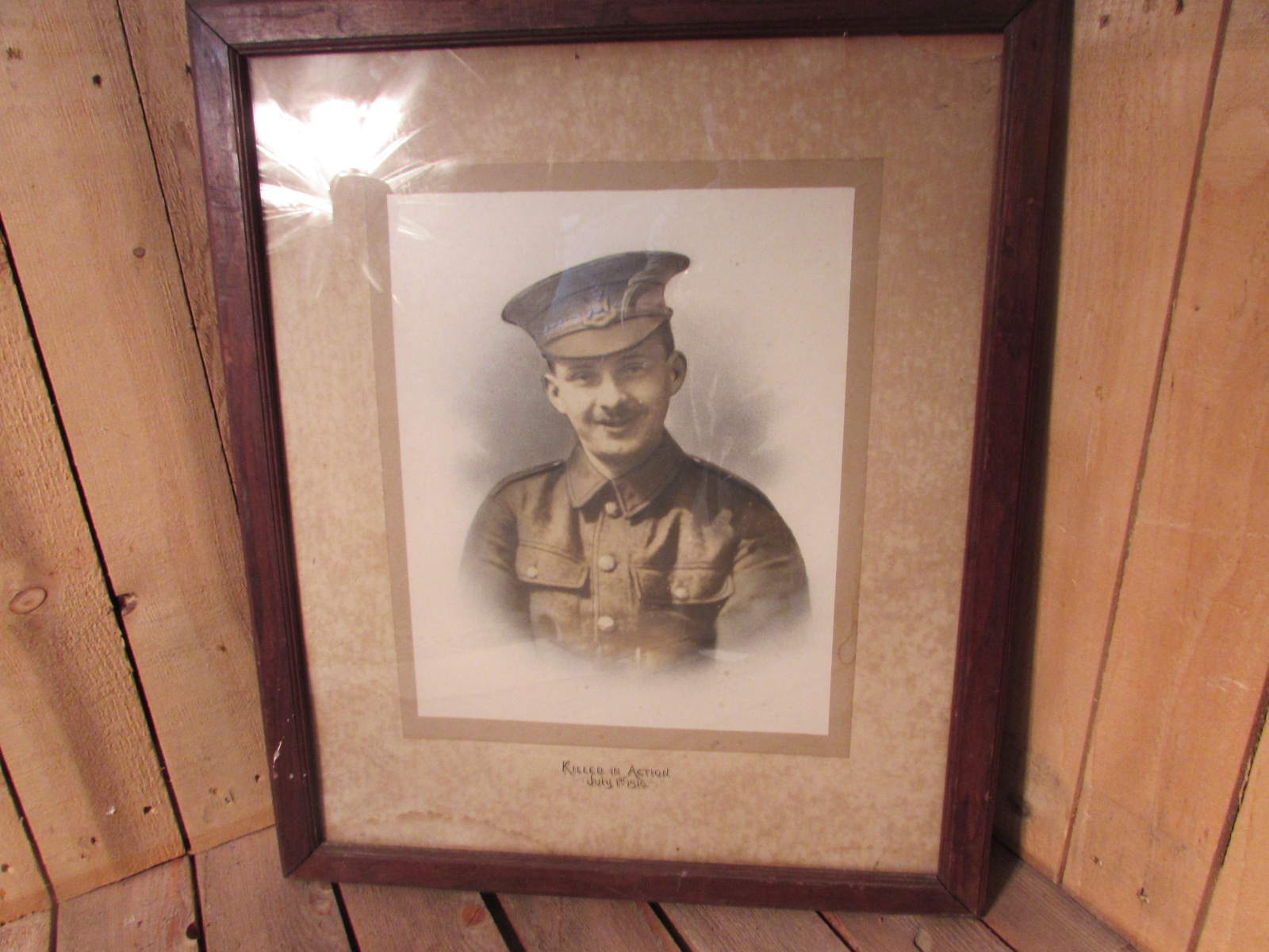 Large framed portrait of WW1 soldier killed 1st day of the Somme