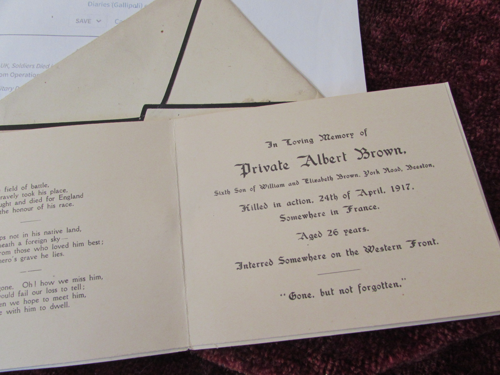 Death Card for Albert Brown