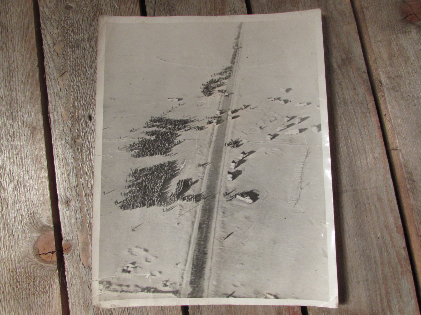 Large photo, North Africa aerial shot of German P.O.Ws (1942)