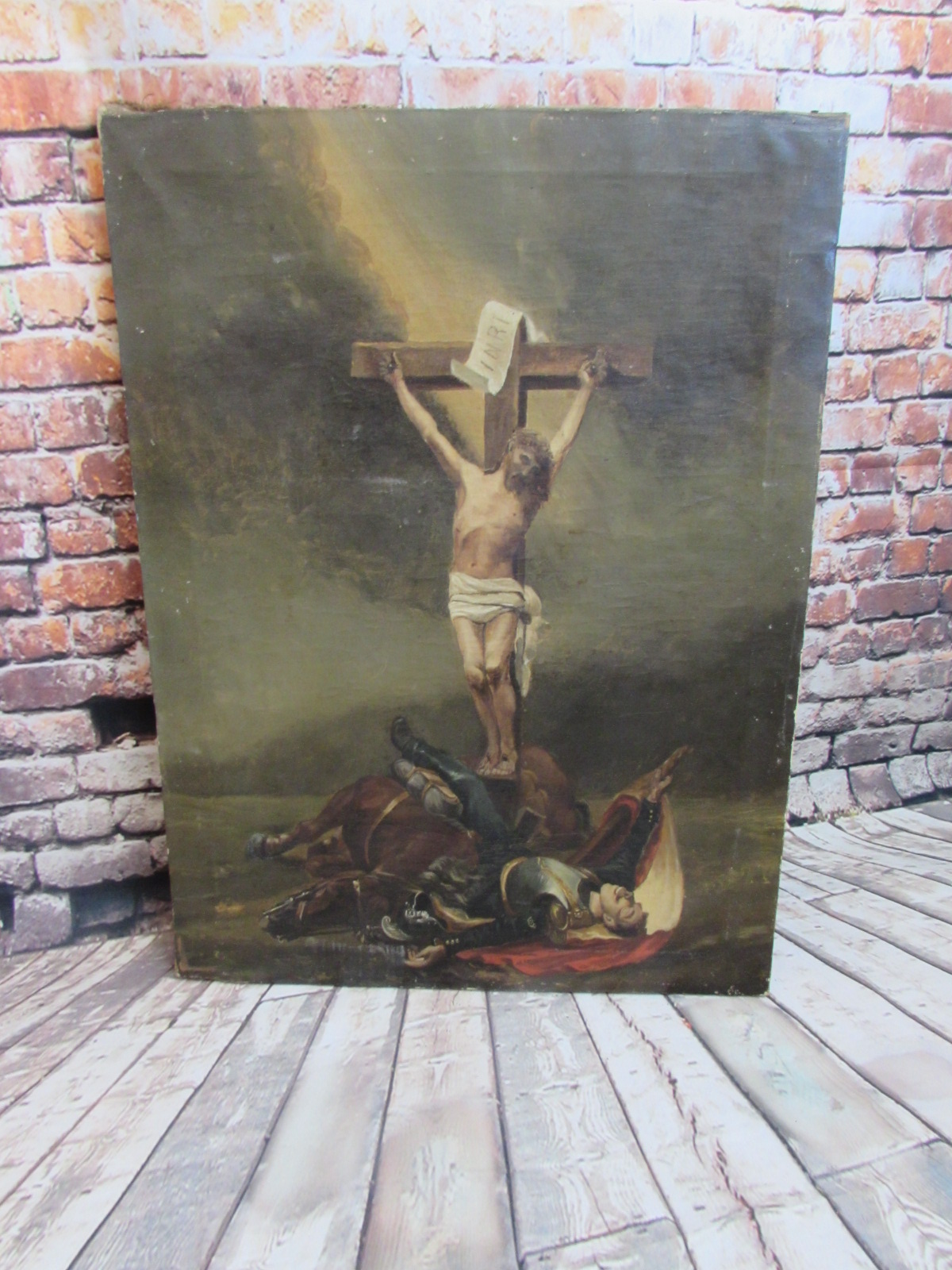 Original 19th Century oil painting (dead Cuirassier with crucifixion)