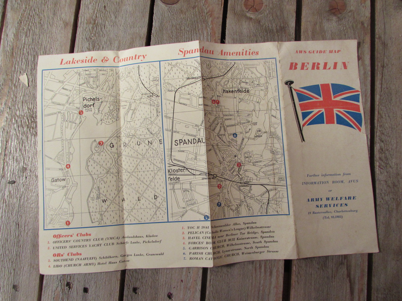 Army welfare services Berlin map (dated 1946)
