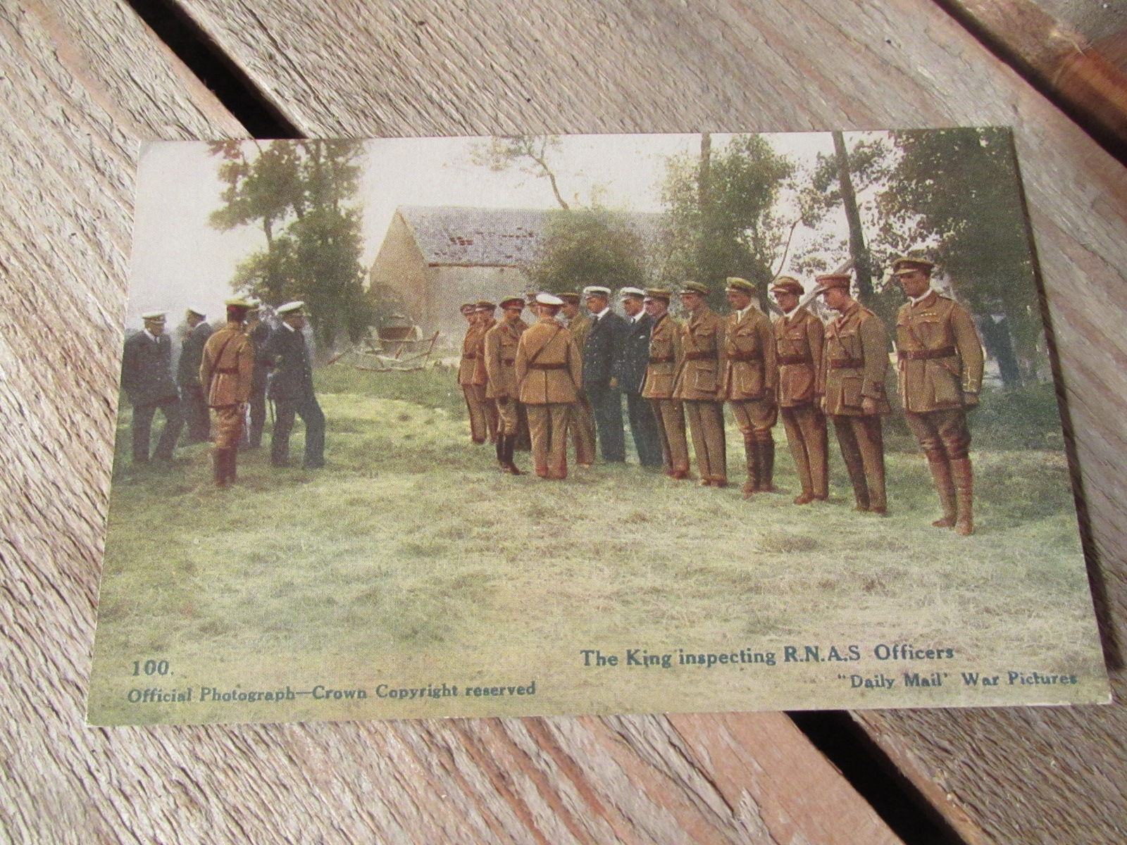 WW1 Original postcard (colourised) King and RNAS officers 1