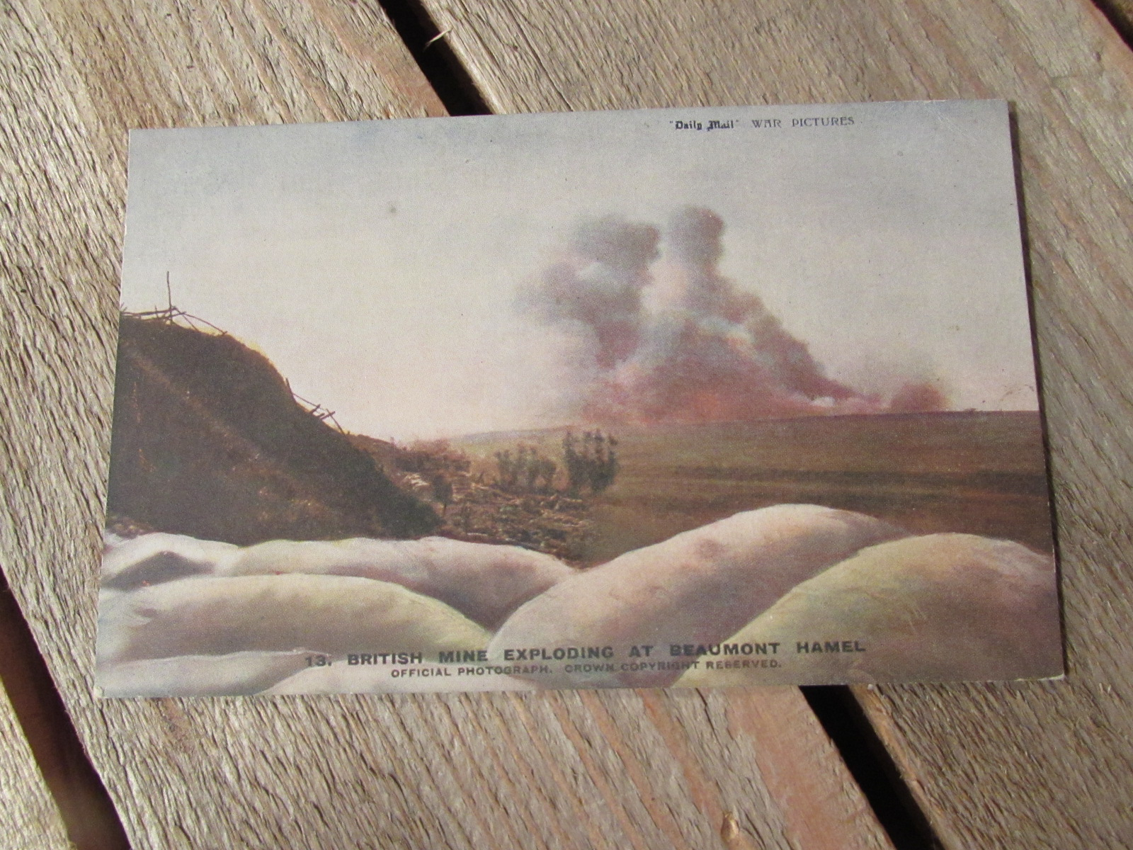 WW1 Original postcard (colourised) Mine expolsion 1