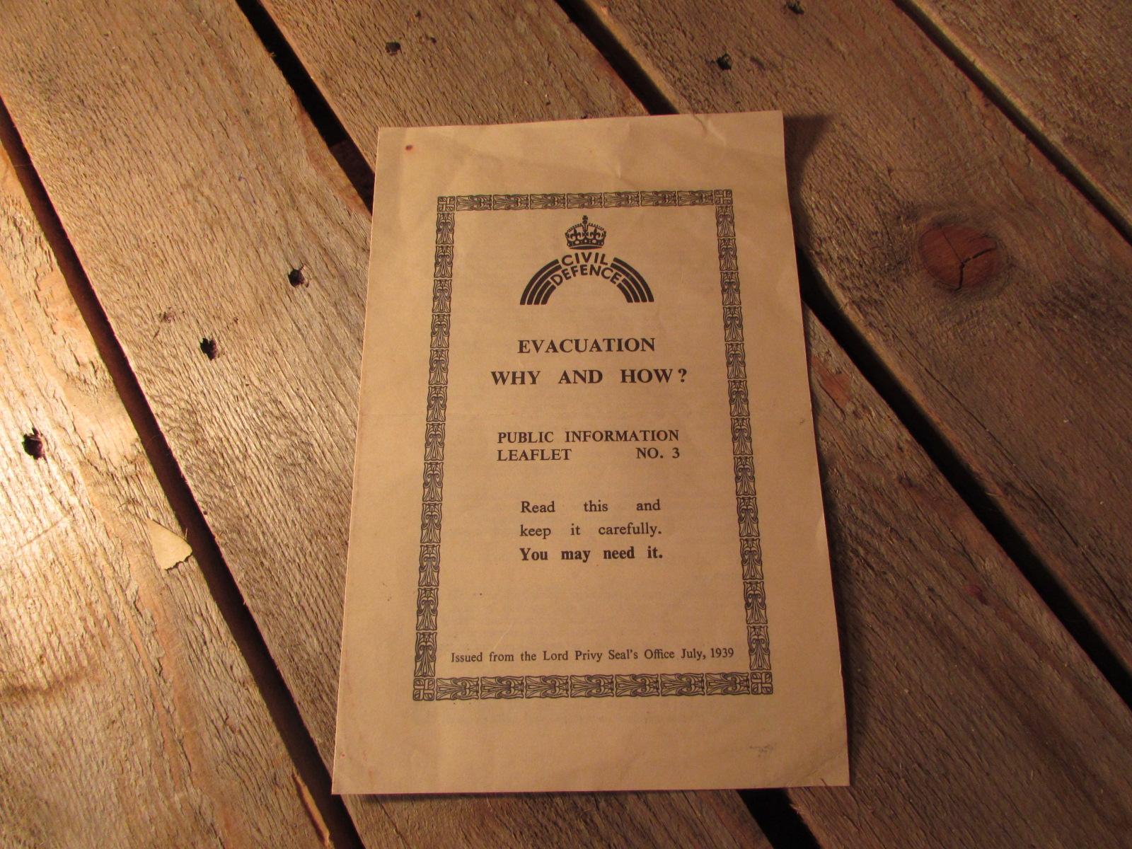 1939 Civil Defence evacuation leaflet 1