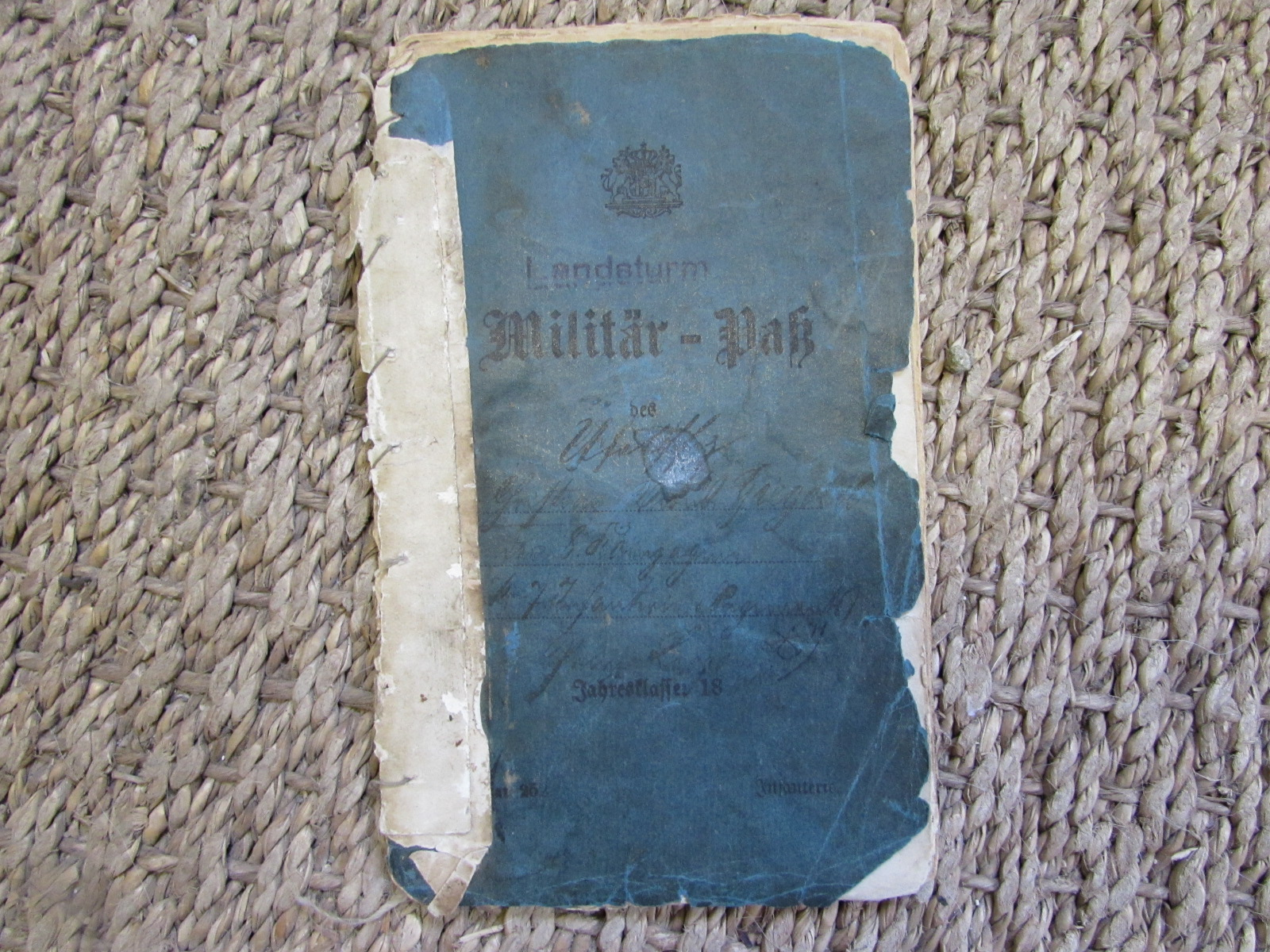 WW1 Military pass for the Lanstrum infantry 1