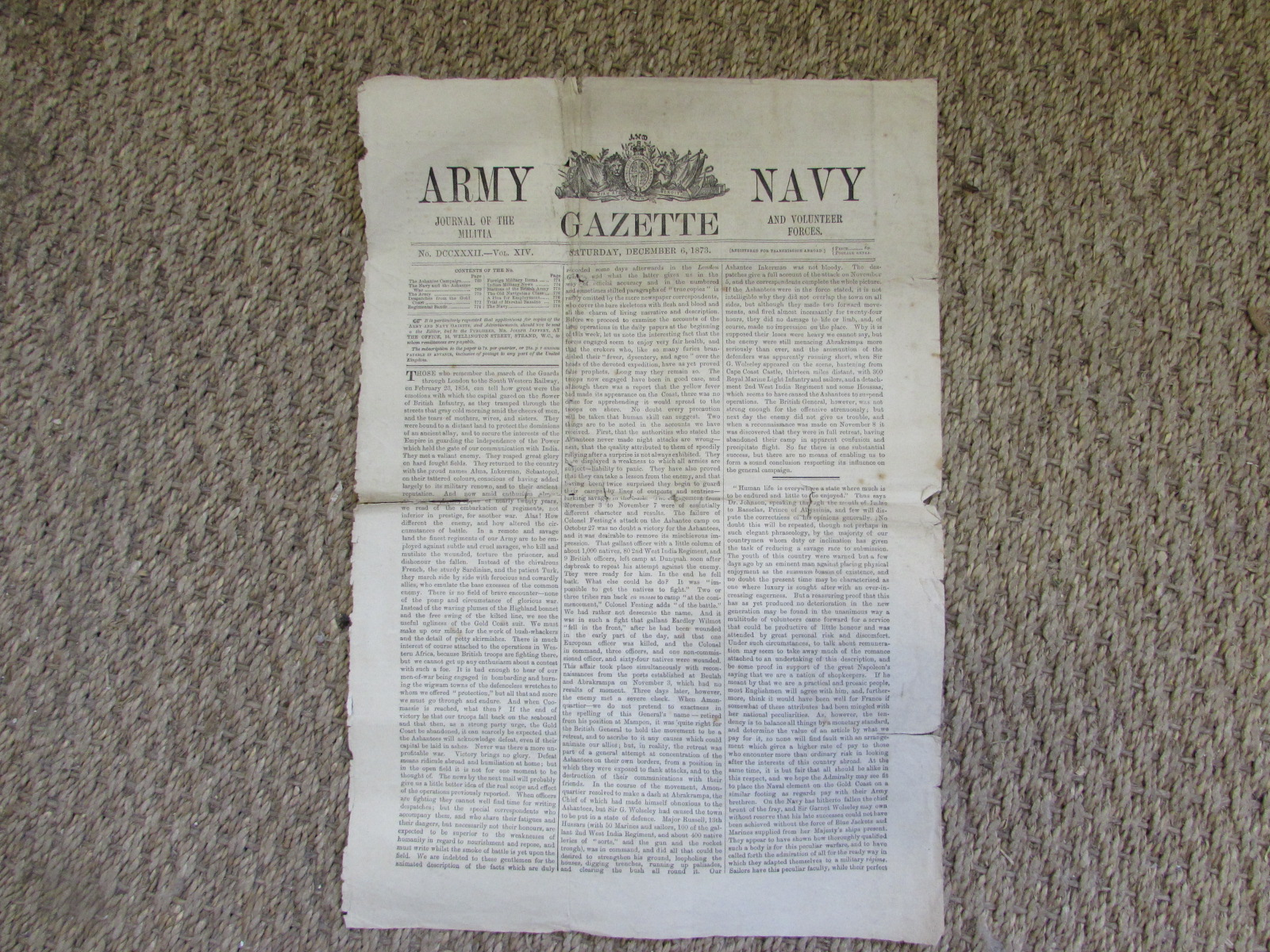 Original page from the Army and Navy gazette (1873) 1
