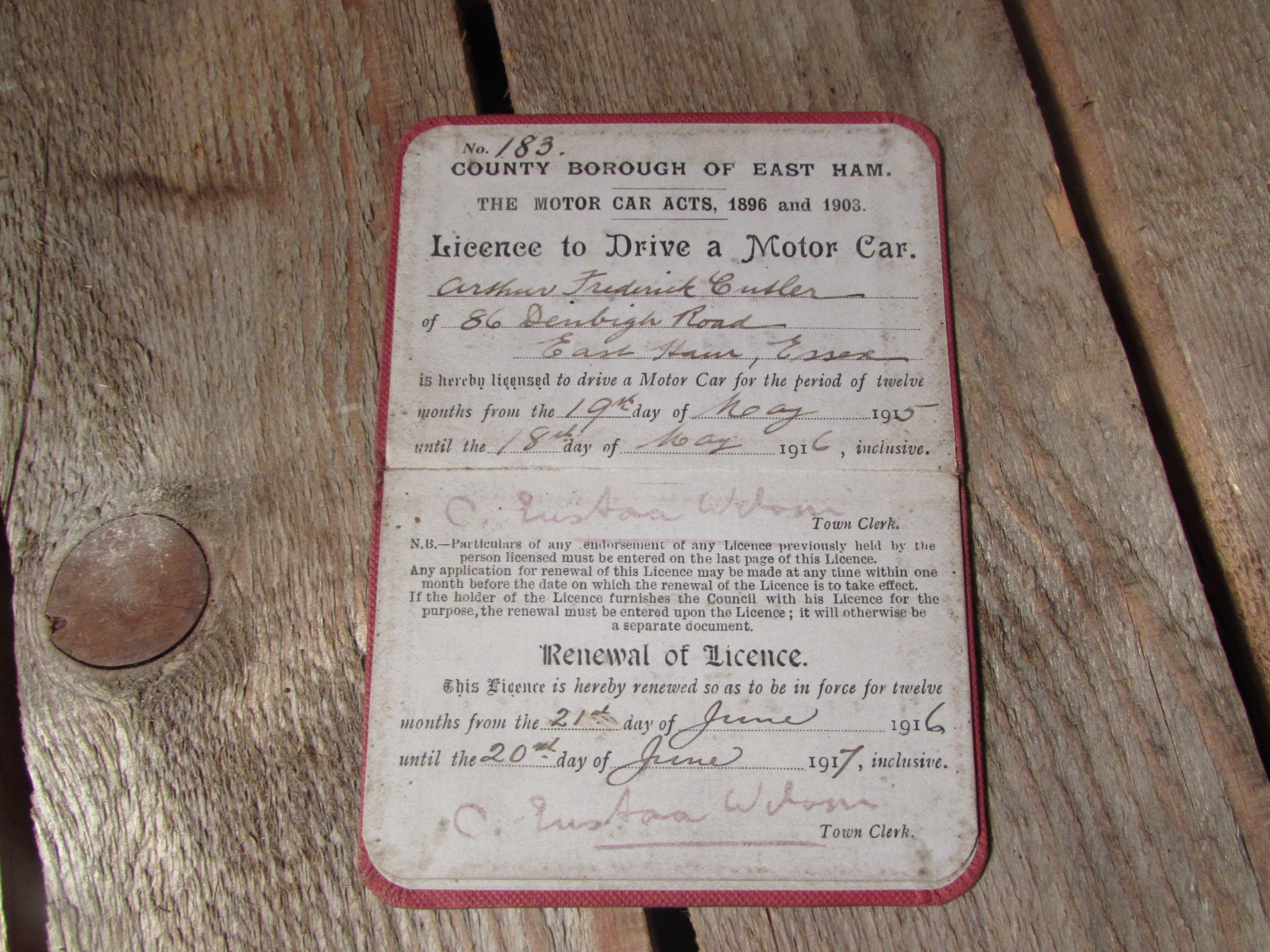 1915 Dated licence to drive a motor car, East Ham